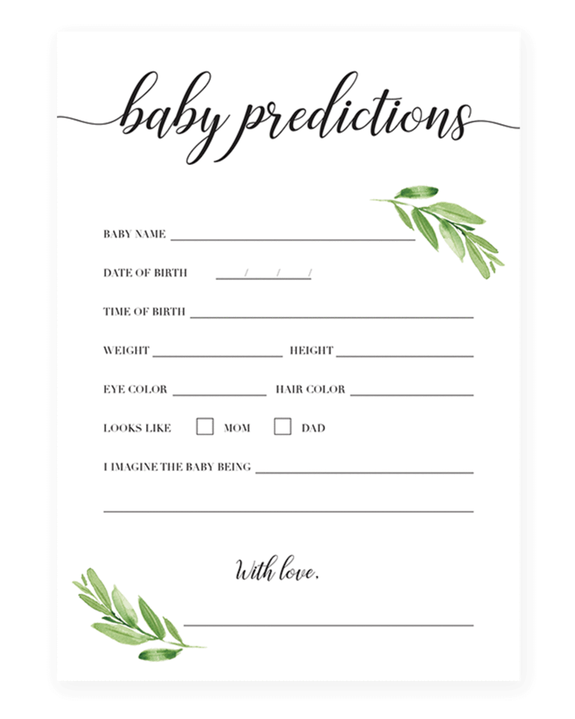 Greenery Baby Shower Keepsakes For Mom Baby Shower Keepsakes Baby Prediction Baby Shower Fun