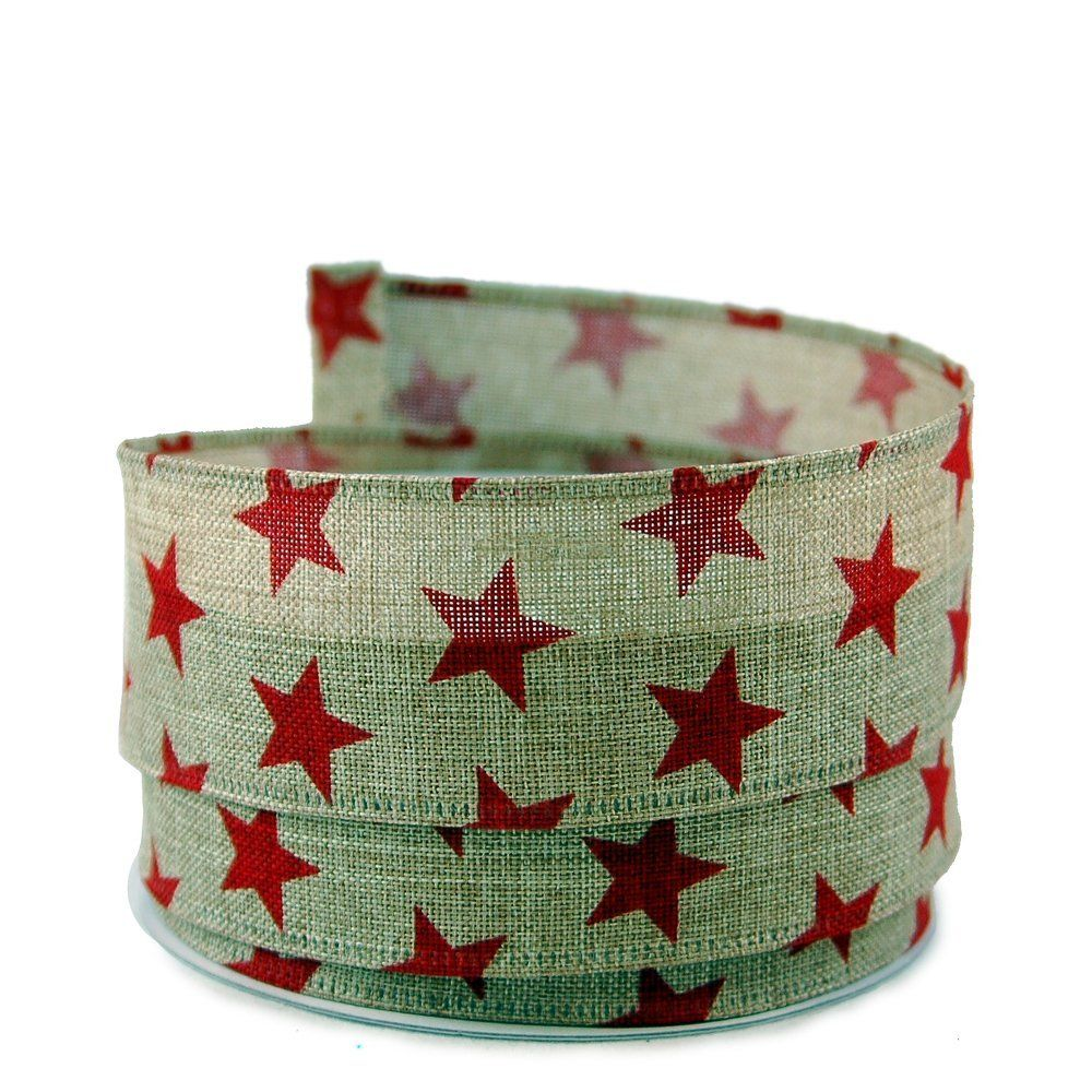 Star Print Linen Wired Ribbon, Red 9 - 1.5in x 10yards >>> You can get additional details at the image link.