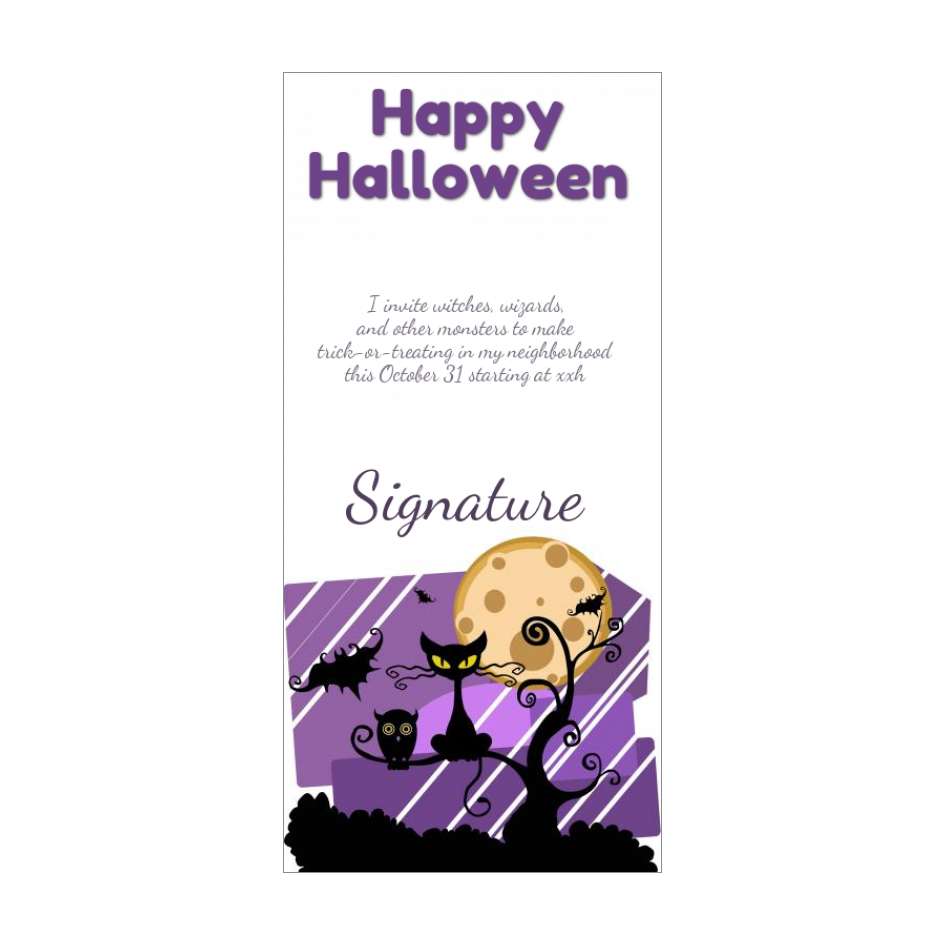 Free Printable Halloween Card For Trick Or Treating Black Cat And Moon Templates Halloween Cards Happy Cards Halloween Invitations