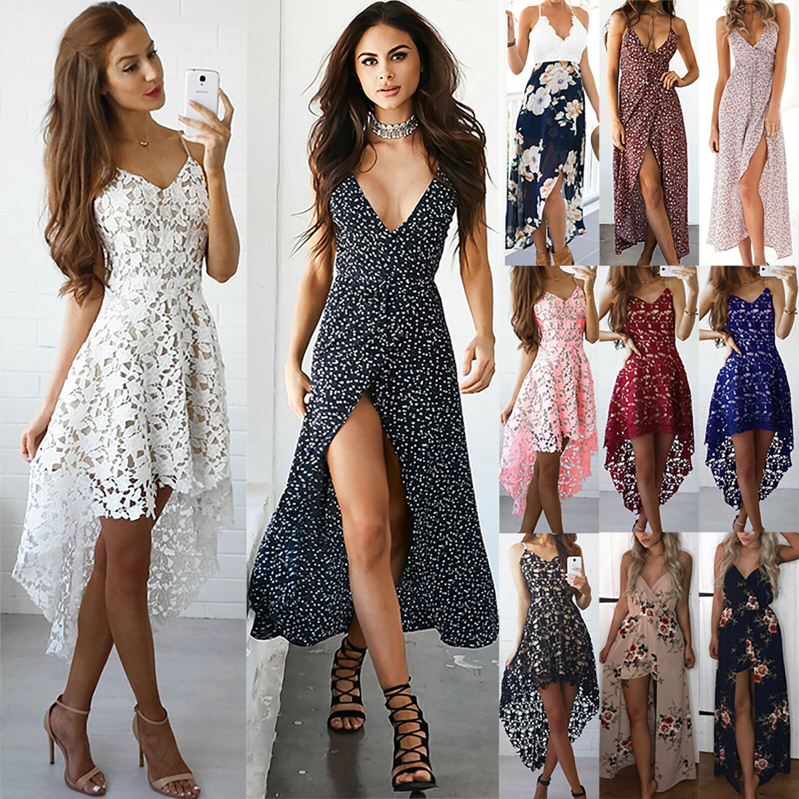 Ladies Dress Women/'s Prom Sundress Dress Casual Cocktail V Neck Formal