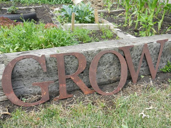 Metal Garden Letters Grow Metal Letters  25Cm Rusty Metal Letters  Rustic Sign
