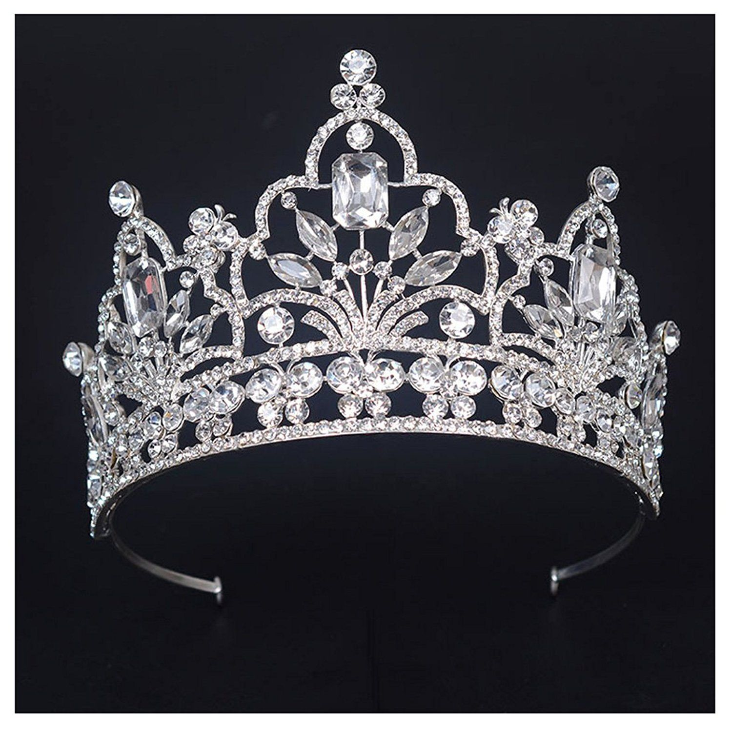 Amazon.com  FF Pageant Crown Tiara for Women 4 Inches Tall Tiaras Wedding  Hair Accessories  Jewelry 2c2e3438293c
