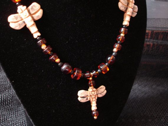 ROMANTIC Dragonfly Necklace Carved Coffee by spiritdesignsbykc, $38.00