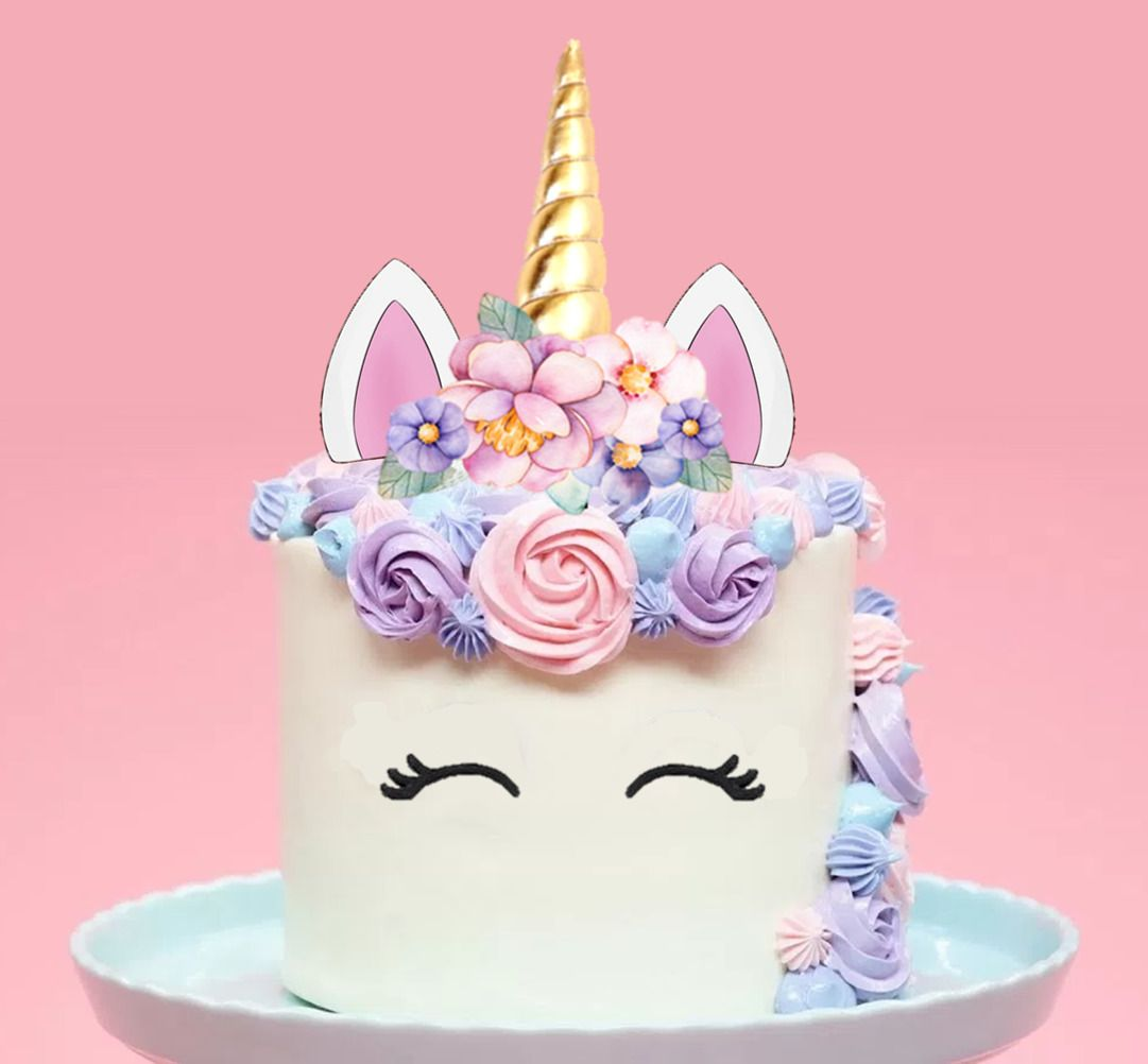 Birthday Cake Topper Gold//Silver Unicorn Horn/& Ear Set Party Decoration Top
