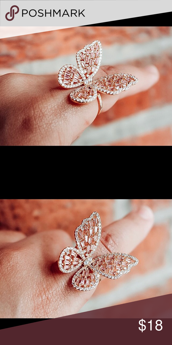 Rose gold rhinestone butterfly ring Butterfly ring in rose