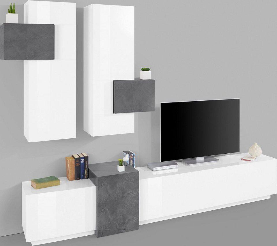 Innenarchitektur für schlafzimmer-tv-einheit tecnos wohnwand kubo breite  cm tlg in   wohnwand
