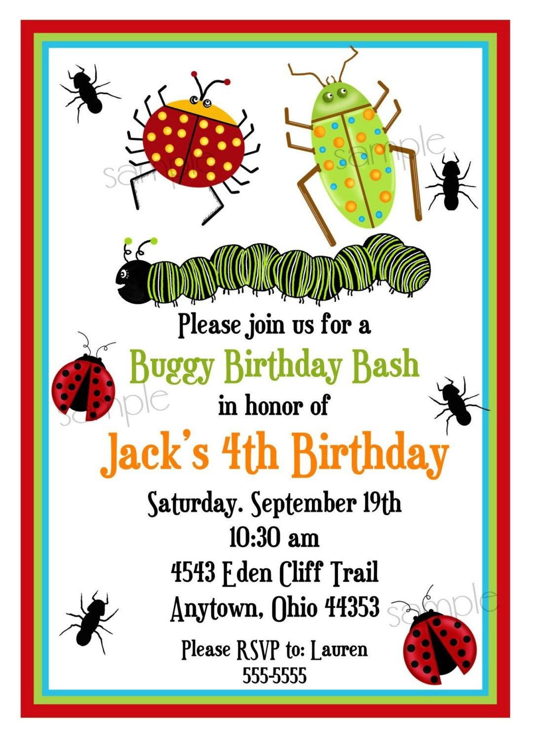 Bug Invitations Bugs Insects Camping Ladybugs Ants – Kids Party Invitations Online