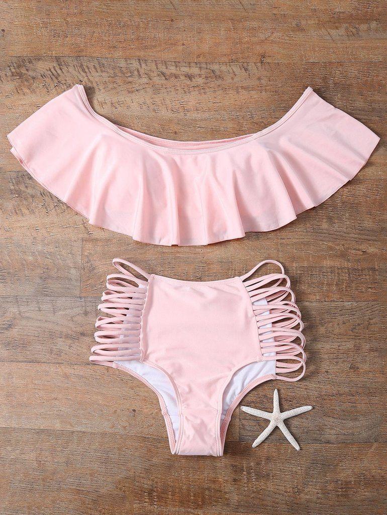 92ee026fa Off The Shoulder Cutout Flounced Bikini Set Trajes De Bikini, Traje De Baño  Niña,