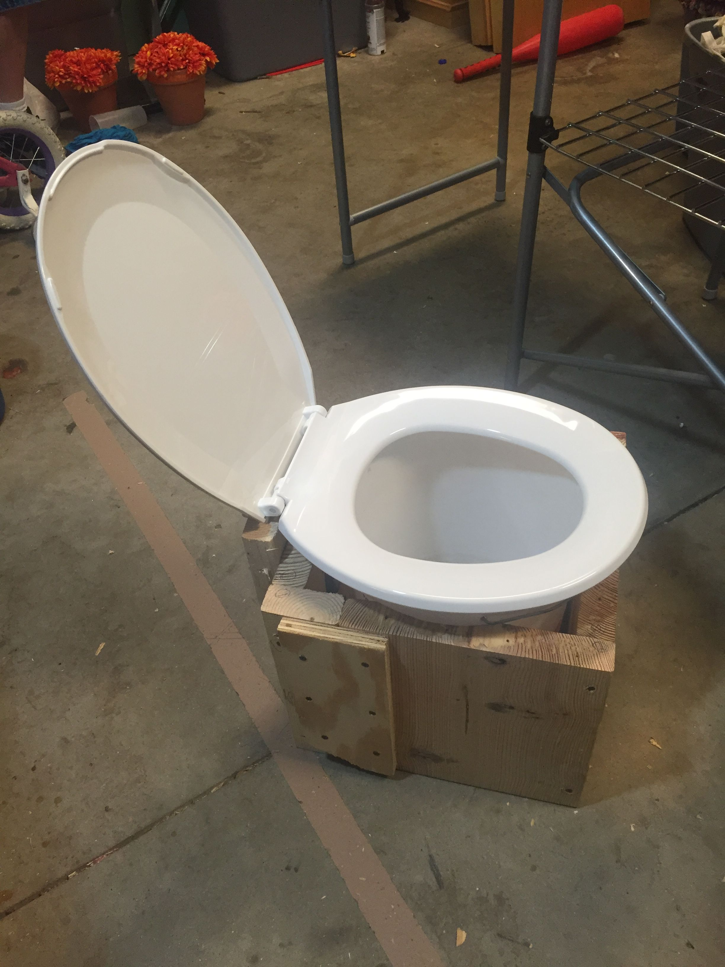 Camping Potty Made From Scrap Wood 5 Gallon Bucket And A Toilet