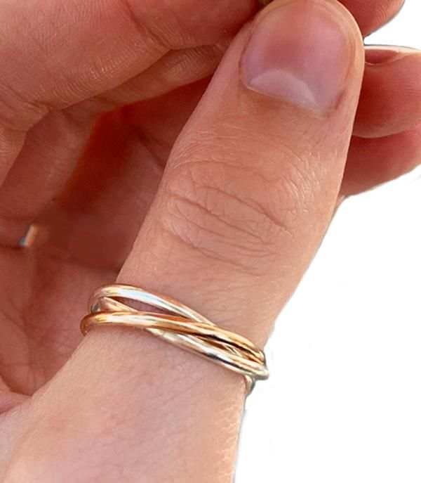 Rolling Interlock Sterling and Gold Fill Thumb Ring  Only 30