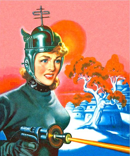 Space babe with ray gun. - some of these illustrations say more about the artists or their audience than they do about the future, you think? (Love the helmet)