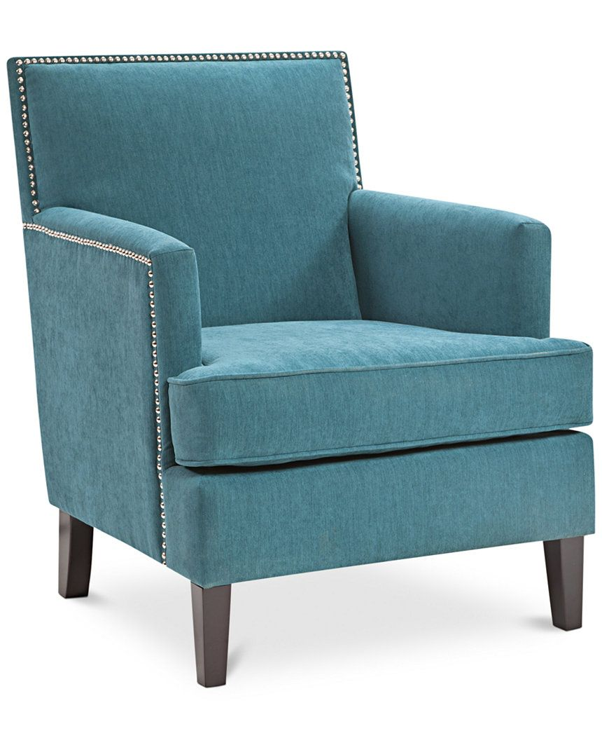 This Deep Peacock Blue Kendall Accent Chair Features Classic