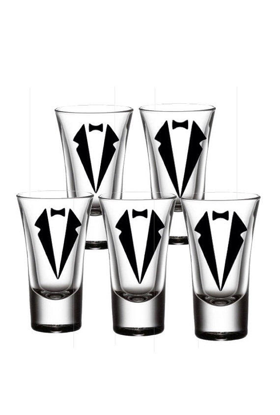 Groom Shot Glasses, Groom-Personalized set of 5