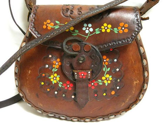 vintage 70s toolead leather bag for women tooled crossbody purse Hippie festival bag