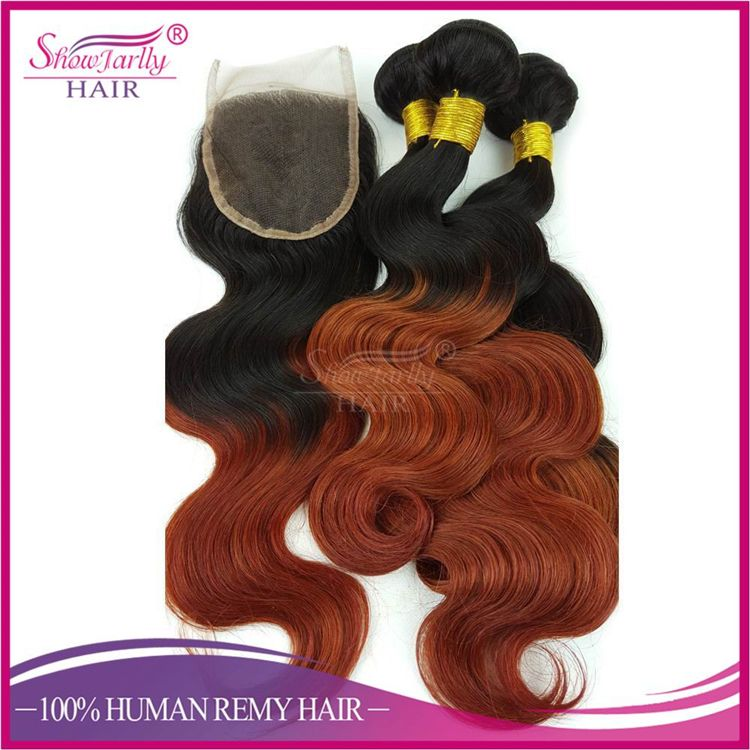Top Grade 1b 350 Color Ombre Human Hair Weaves Lace Closure Factory