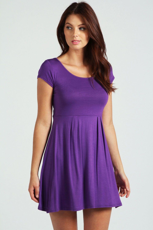 Jersey Cap Sleeve Skater Dress | Cap, Boohoo and Skater skirt dress