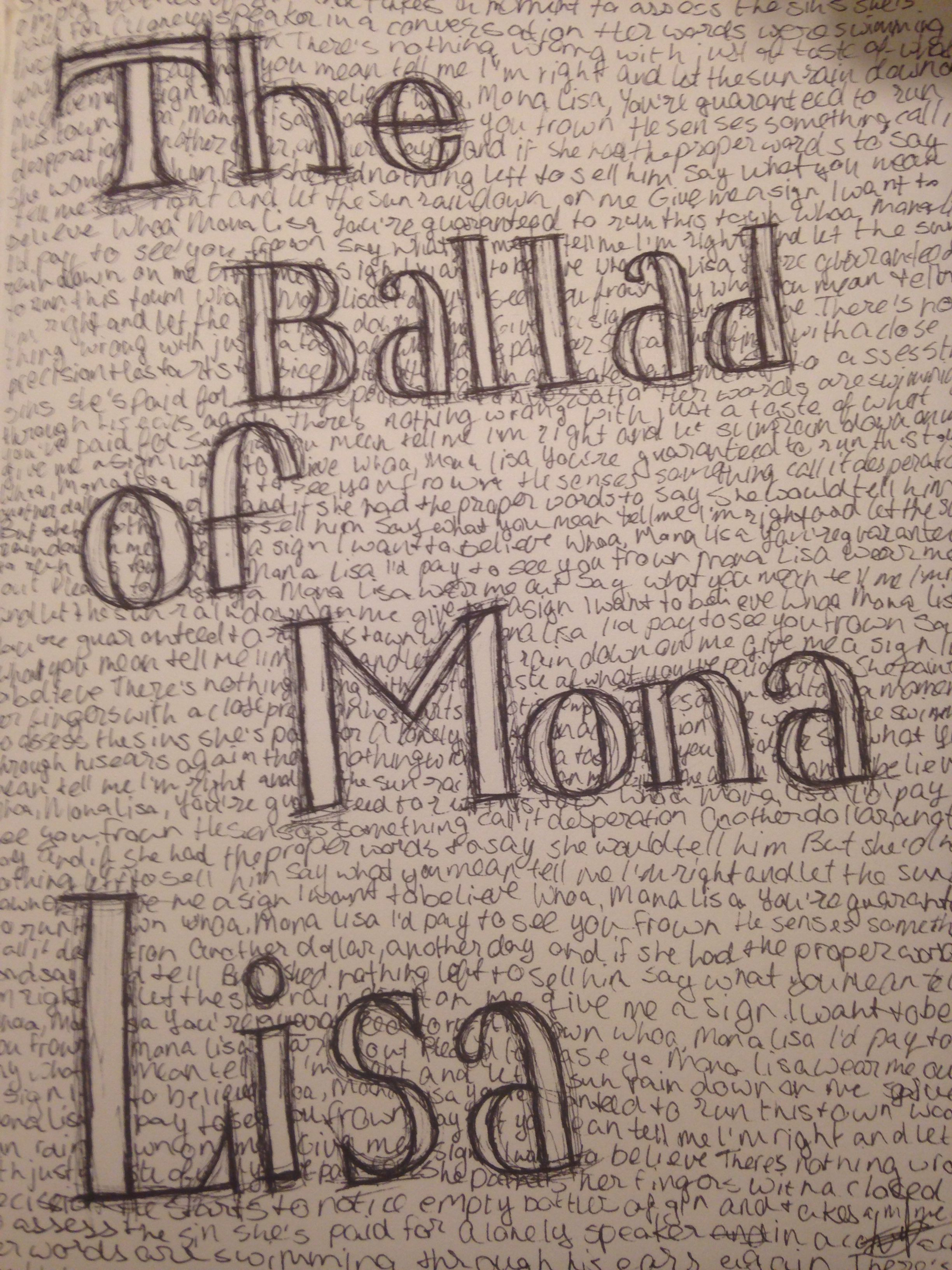 Sketching song titles and lyrics to kill some time is always fun sketching song titles and lyrics to kill some time is always fun the ballad of mona lisa panic at the discocredit to whoever put in the effort hexwebz Gallery