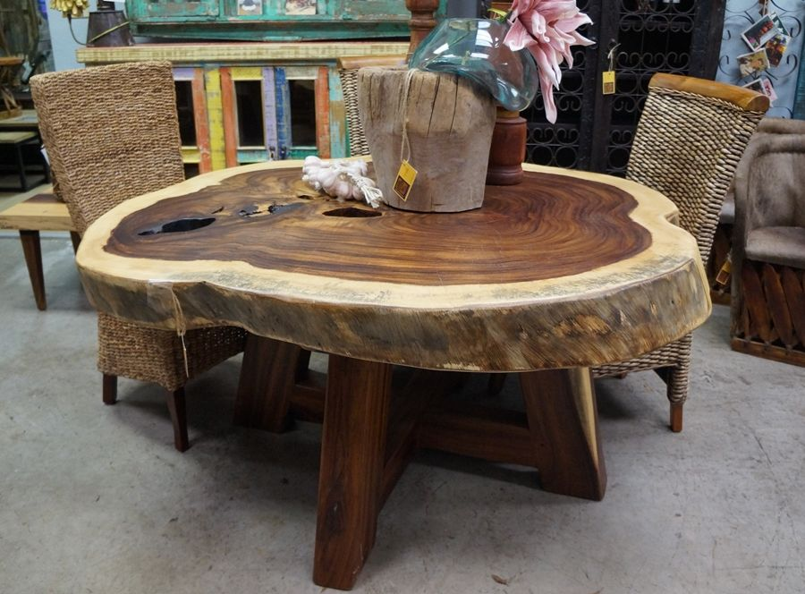 Perota Slab Round Dining Table Rustic Wood Furniture Live Edge