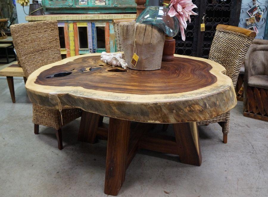 Perota Slab Round Dining Table Rustic Wood Furniture Live Edge