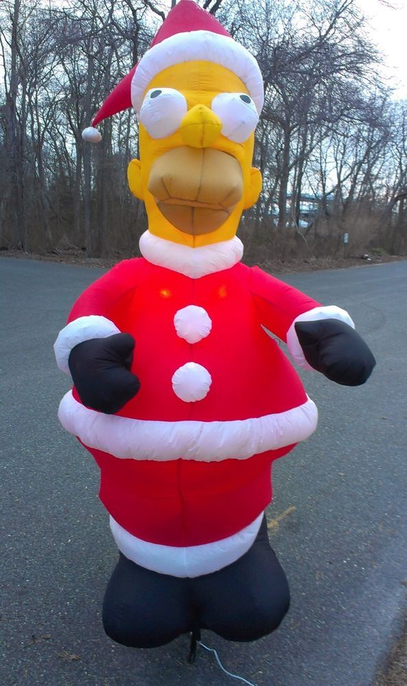 giant homer simpson christmas airblown inflatable 8 santa gemmy yard decoration gemmy homer simpson - Christmas Airblown Inflatables