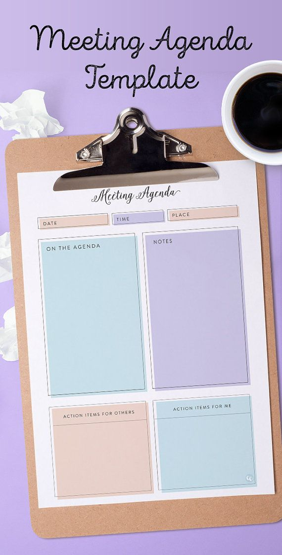 Printable Meeting Agenda Template  Instant Download  Template