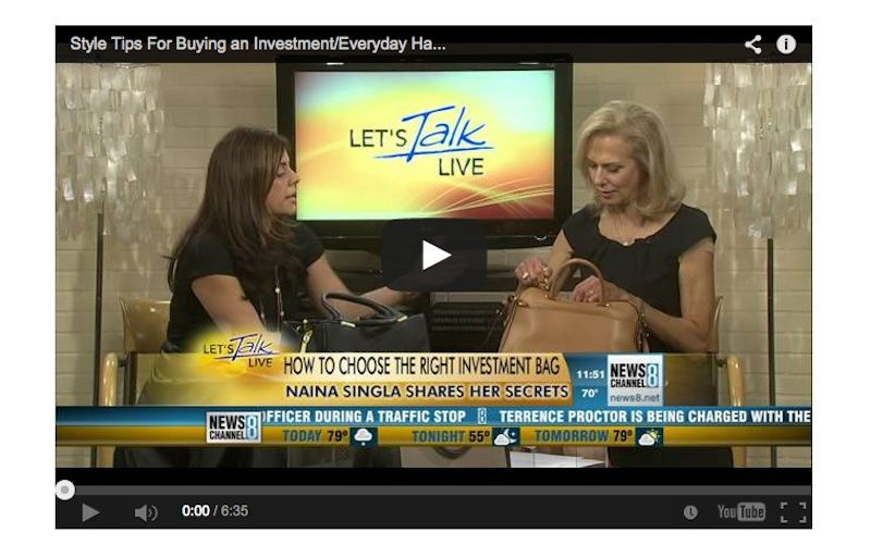"""Naina Singla gives style tips on purchasing an everyday bag for every price point! Check out the """"Lets Talk Live"""" segment on the blog!"""