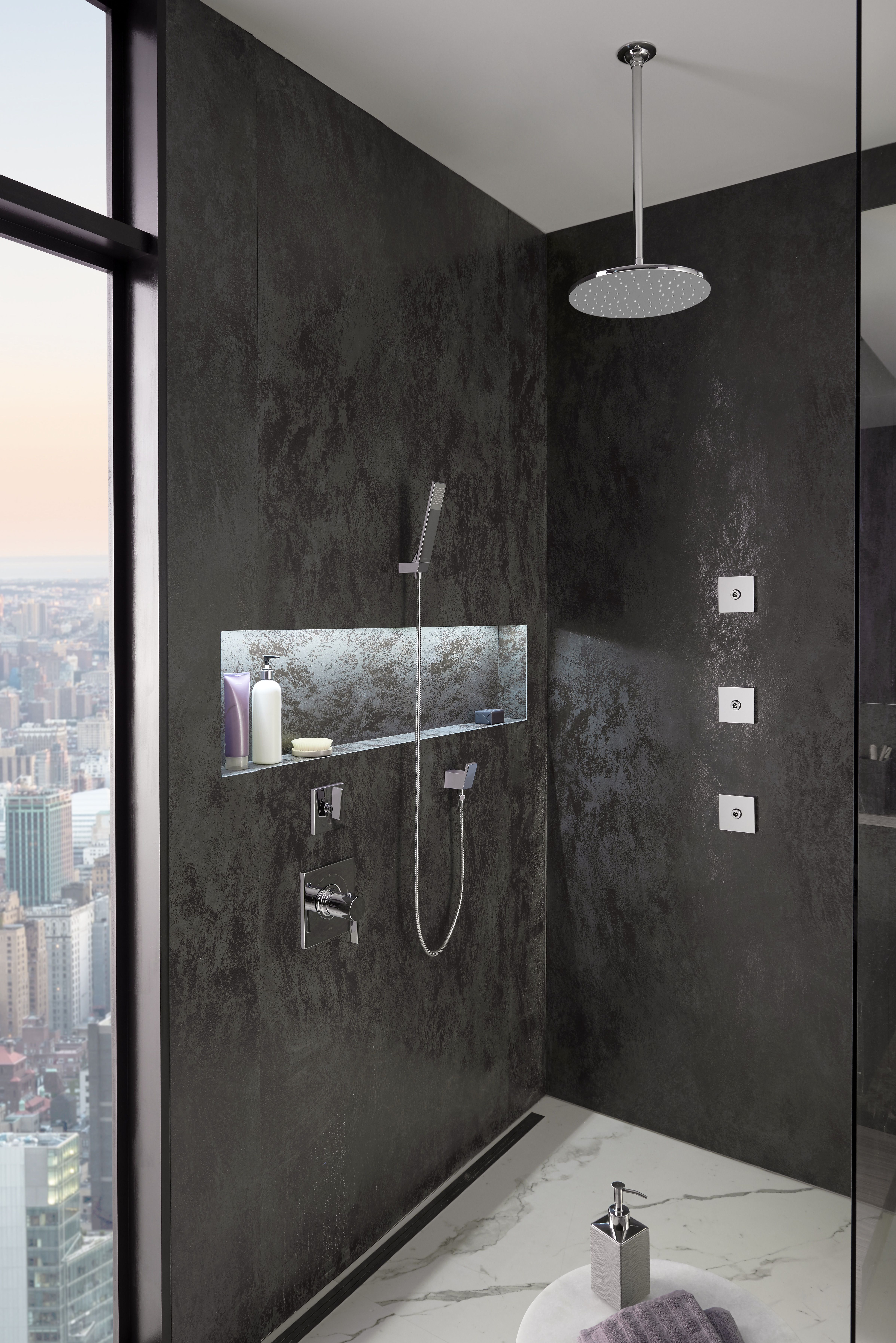 City Views And A Toto Rain Shower Head Are An Invigorating Start