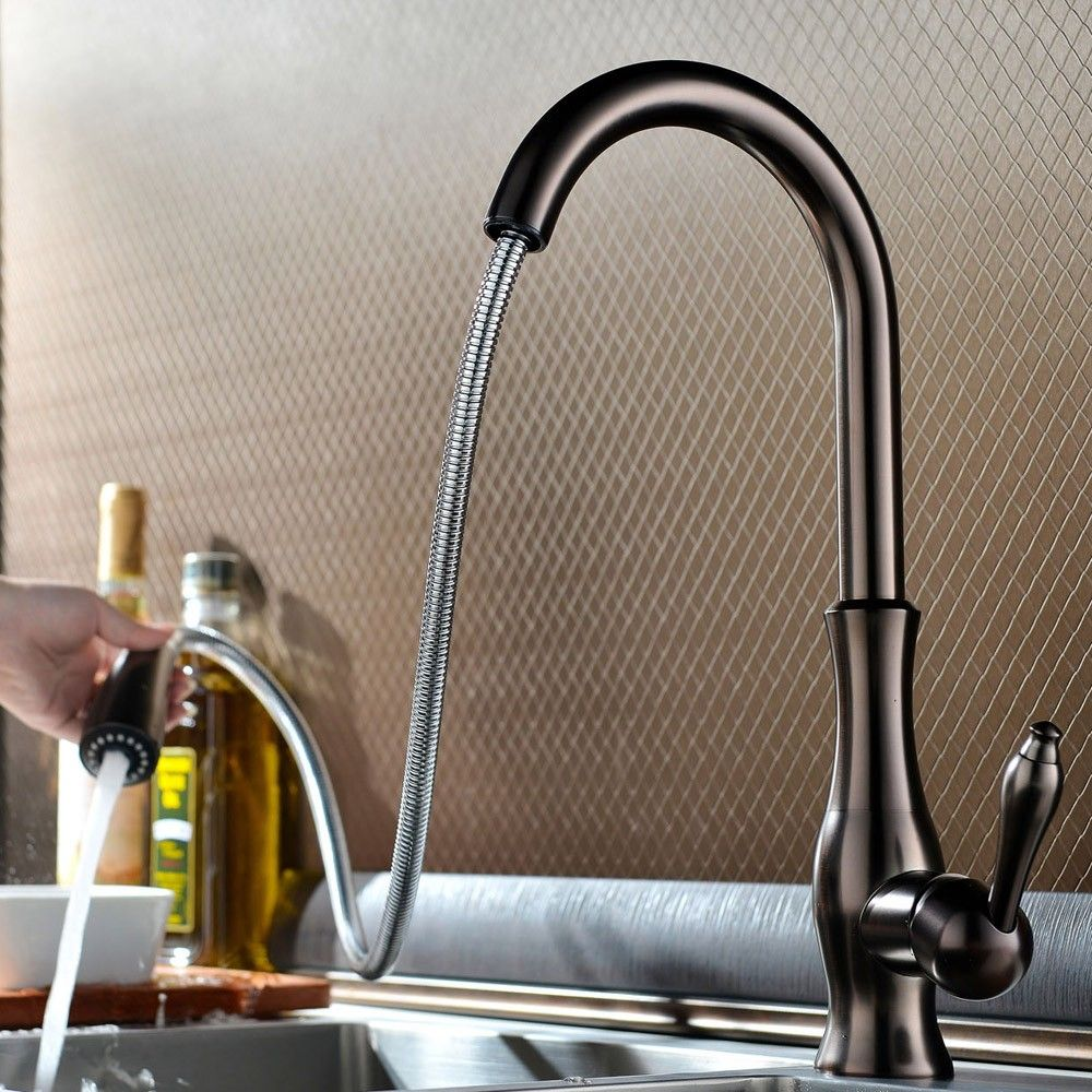 Tracier Gooseneck Single Hole Kitchen Faucet With Pull Out Spray Kitchen Faucet Kitchen Mixer Taps Kitchen Faucets Pull Down
