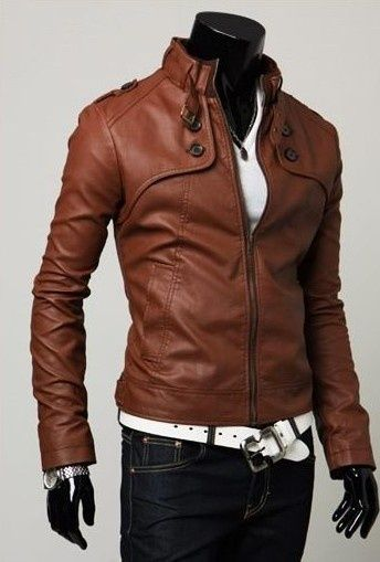 $38.00 - Mens Leather Jacket Zipper Embellished Buttons Slim ...