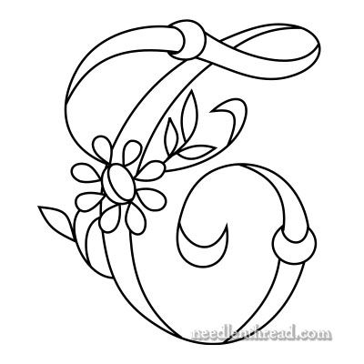 Monogram for Hand Embroidery - the Letter 'T' via the fabulous Mary Corbet