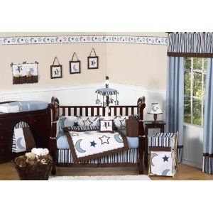 Amazon Com Modern Blue And White Stars And Moons Baby Boy Bedding 9pc Crib Set By Jojo Designs Baby Crib Bedding Sets Baby Boy Crib Bedding Baby Boy Bedding