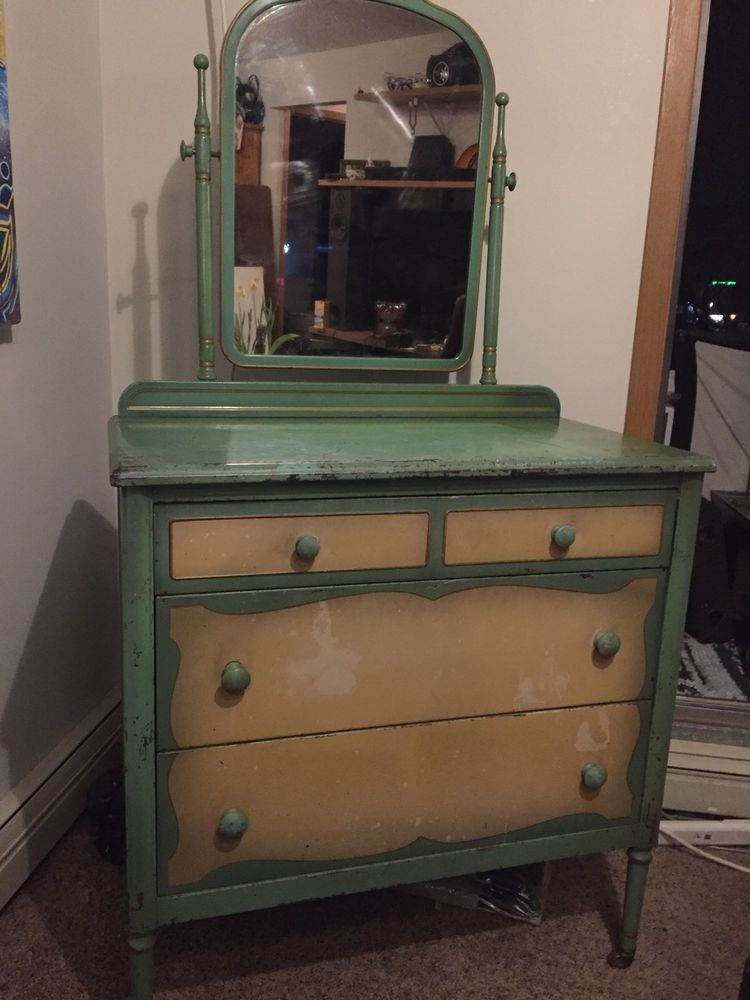 Antique Rare 1930 S Metal Dresser With Mirror Made By Simmons
