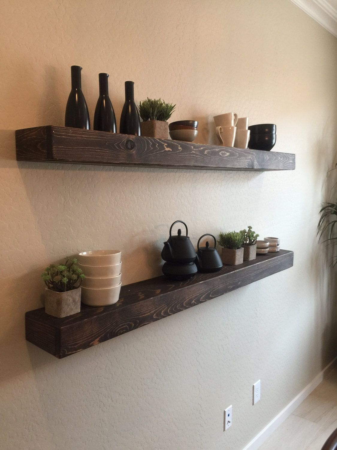 set of 2 large rustic style floating shelves 60 l x 7 d espresso finish hand made to on kitchen floating shelves id=79894