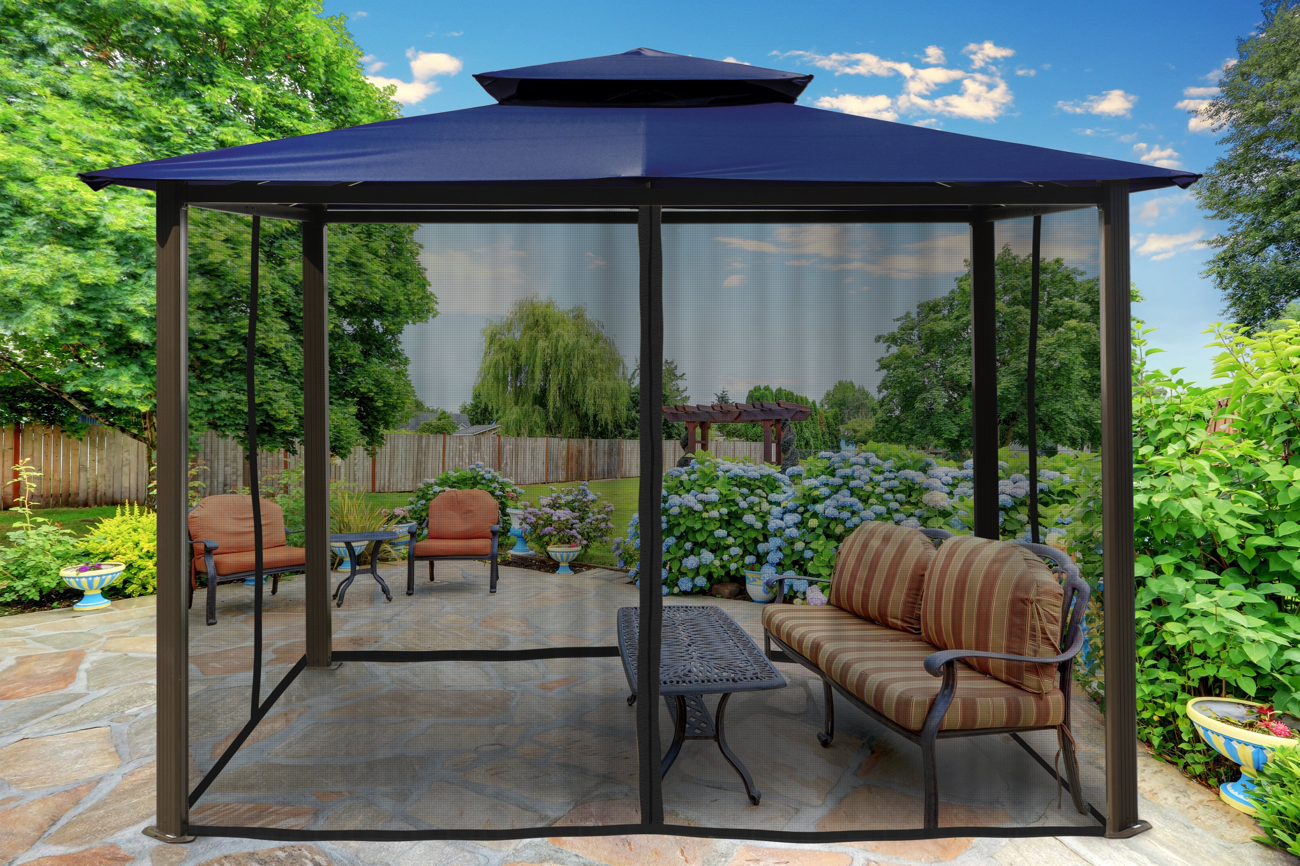 Paragon Outdoor Barcelona Gazebo With Navy Roof And Mosquito Netting Size 10 X 12 In 2020 Gazebo Backyard Structures Outdoor
