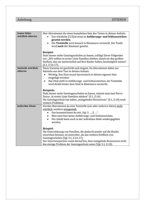 Merkblatt Zitieren Regeln Mit Erganzung Oberstufe Unterrichtsmaterial Im Fach Deutsch In 2020 Richtig Zitieren Zitieren Merken