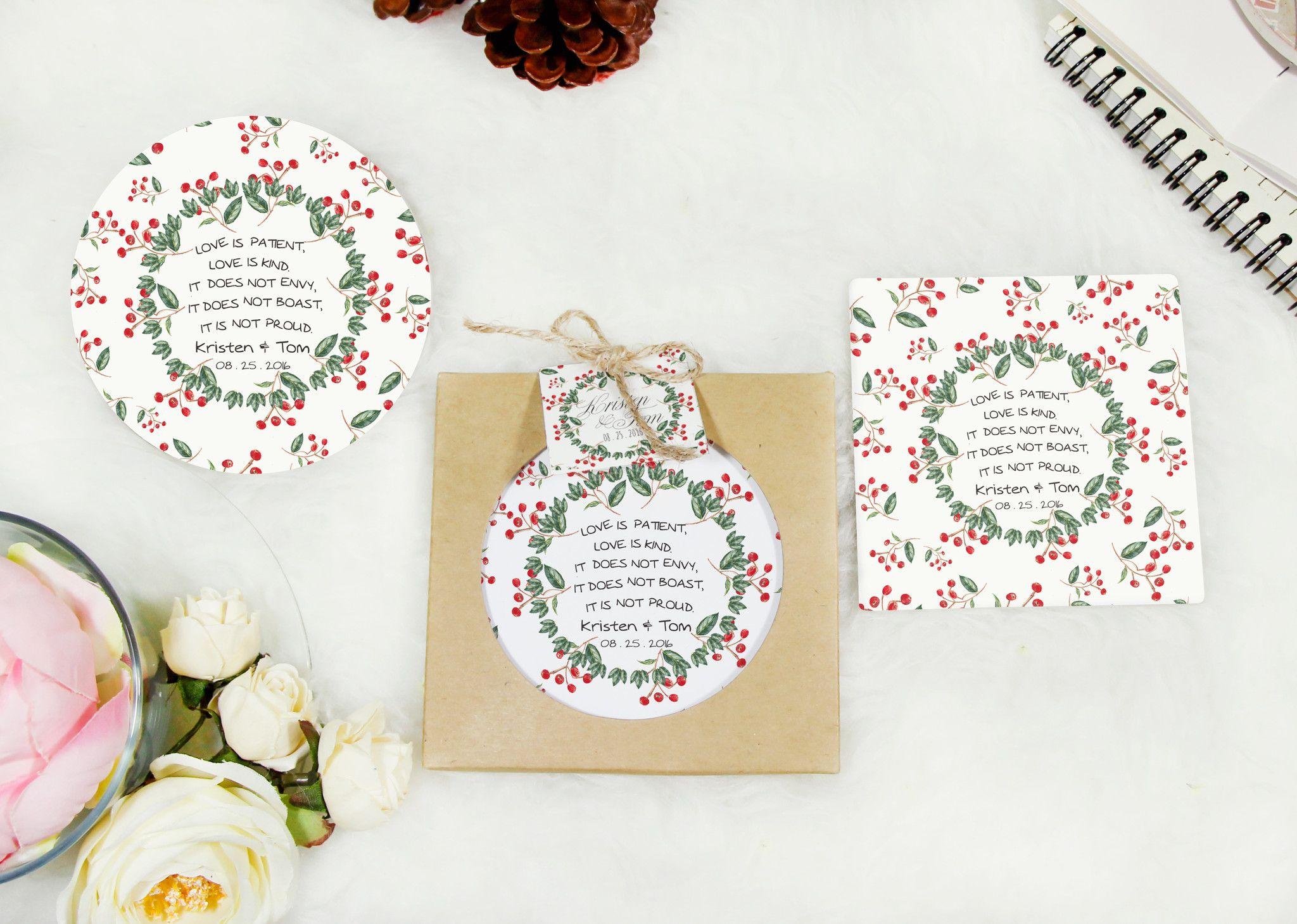 Love is patient coasters wedding favor wedding gift guest gift