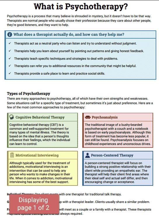 Psychotherapy Info Sheet (Worksheet | Pinterest