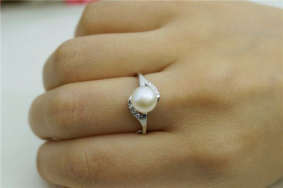 Anniversary Gift Wedding Gift Engagement Gift 8mm Sterling Silver Pearl Ring Genuine Freshwater Pearls Birthday Gift