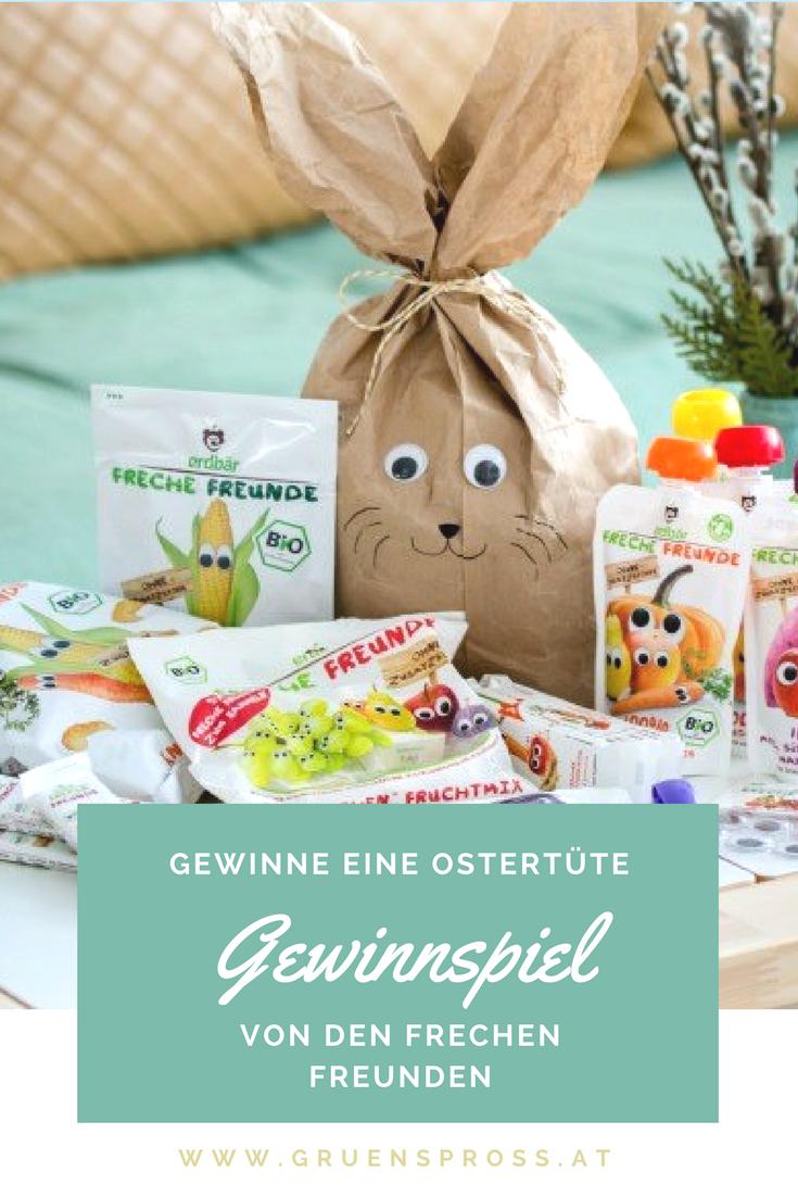 Gewinnspiel und Bastelanleitung für einen Osterhasen aus einer Papiertüte (DIY). Gewinne eine Ostertüte von den Frechen Freunden - gefüllt mit veganen Produkten für Kinder.