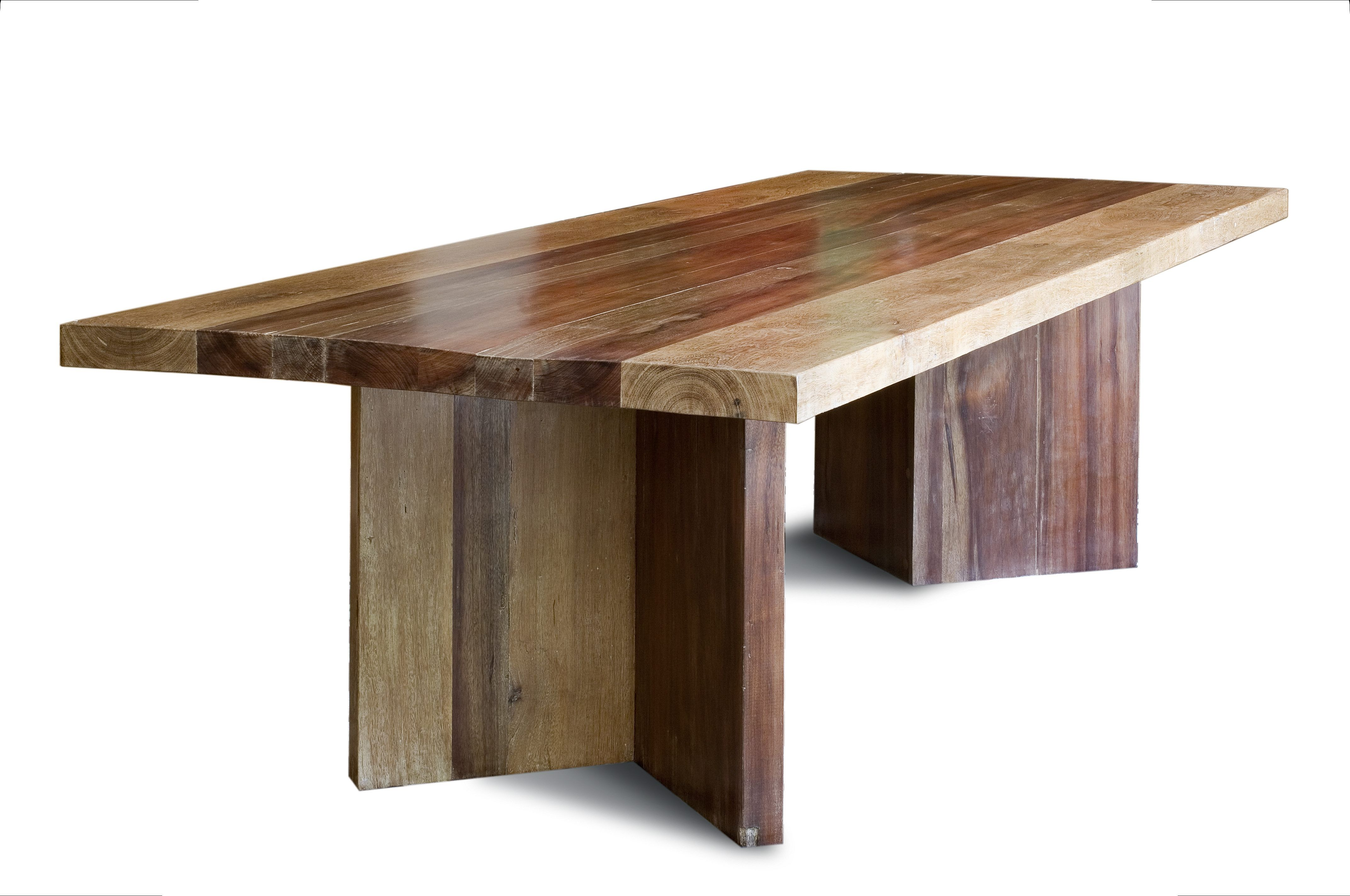 Reclaimed wood dining table made with large planks of a for Wood dining table decor