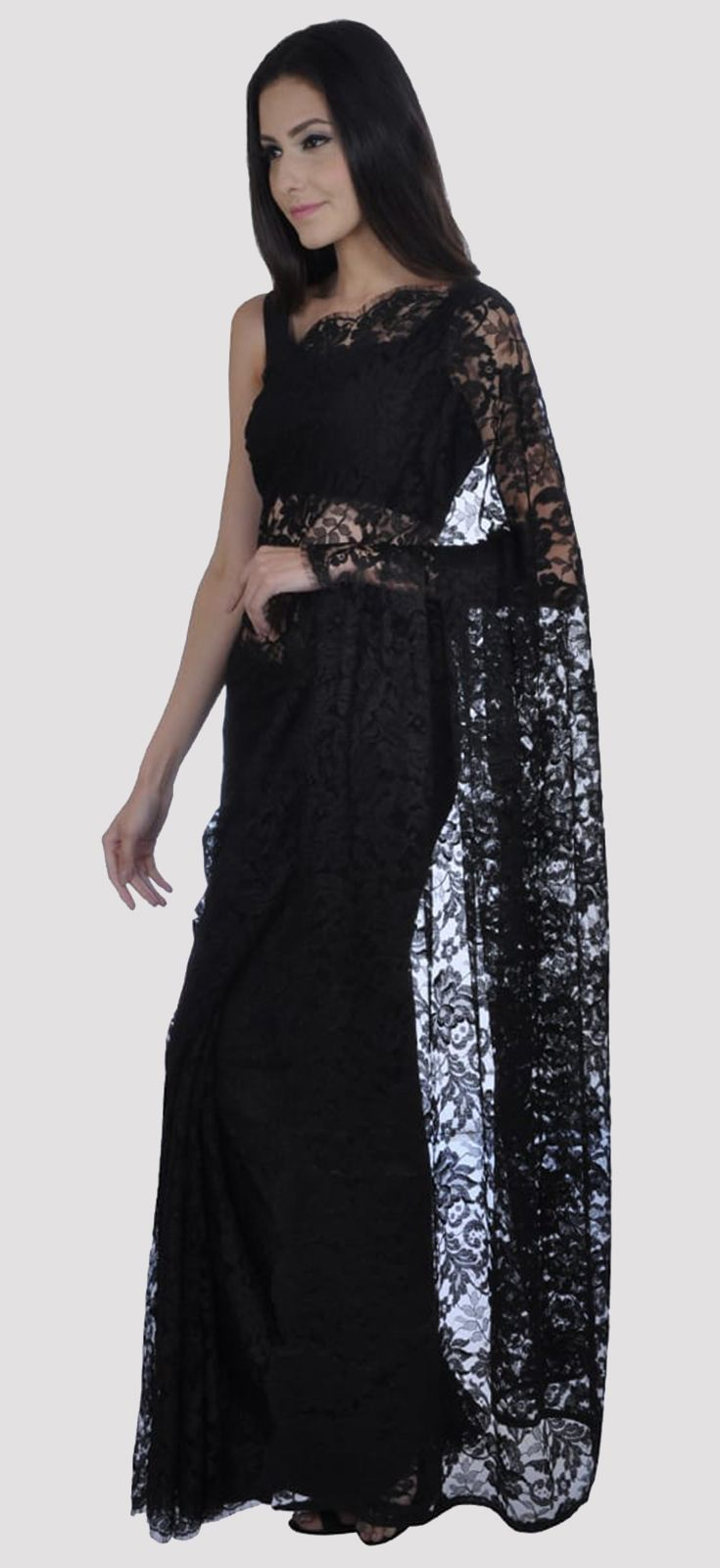 eab83704 Black French Chantilly Lace Saree With Pure Crepe Blouse ...