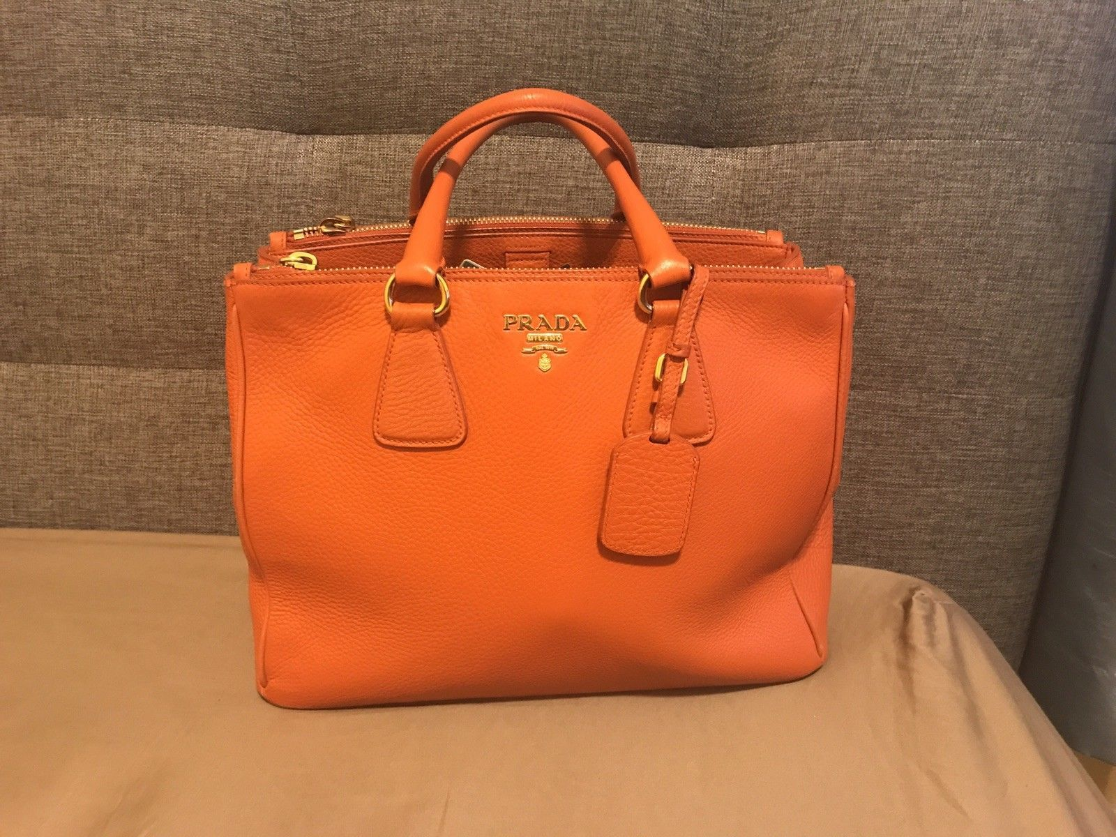 2bd4b85b32 Prada Saffiano Leather Lux Large Tote bag handbag ORANGE  1200.0 ...