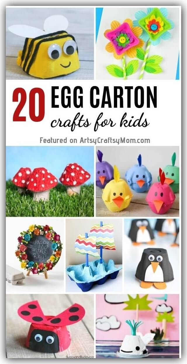 20 Recycled Egg Carton Crafts - Recycled crafts kids, Egg carton crafts, Preschool crafts, Toddler arts and crafts, Toddler crafts, Childrens crafts - Don't throw away those egg cartons! Instead, use your creativity and turn them into some cute little egg carton crafts for kids! Now that's smart recycling! Eggs are healthy for everyone in the family, especially kids, and there's no doubt about that  However, did you know that egg cartons are also good for you  yes, it strengthens your creative muscles! Egg cartons are something we just throw away as soon as that last egg is used up, but we're here to stop you  Instead of dumping it, give those cartons a thorough clean up  they're going to come in very handy! Yes, it's amazing what egg cartons can turn into  from bugs to penguins, from apples to flowers and even treasure! Let's take a looksee at all the different fun things you can make with egg cartons!