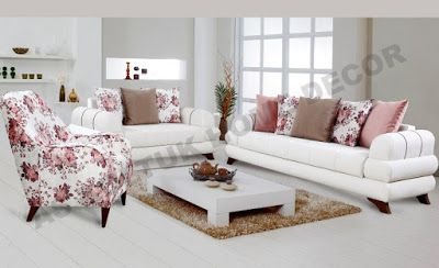 For Sale White And Floral Modern Sofa Set