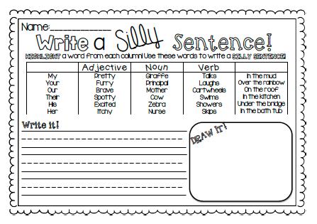 Silly Sentence Worksheet | Free Printable Worksheets | Pinterest ...
