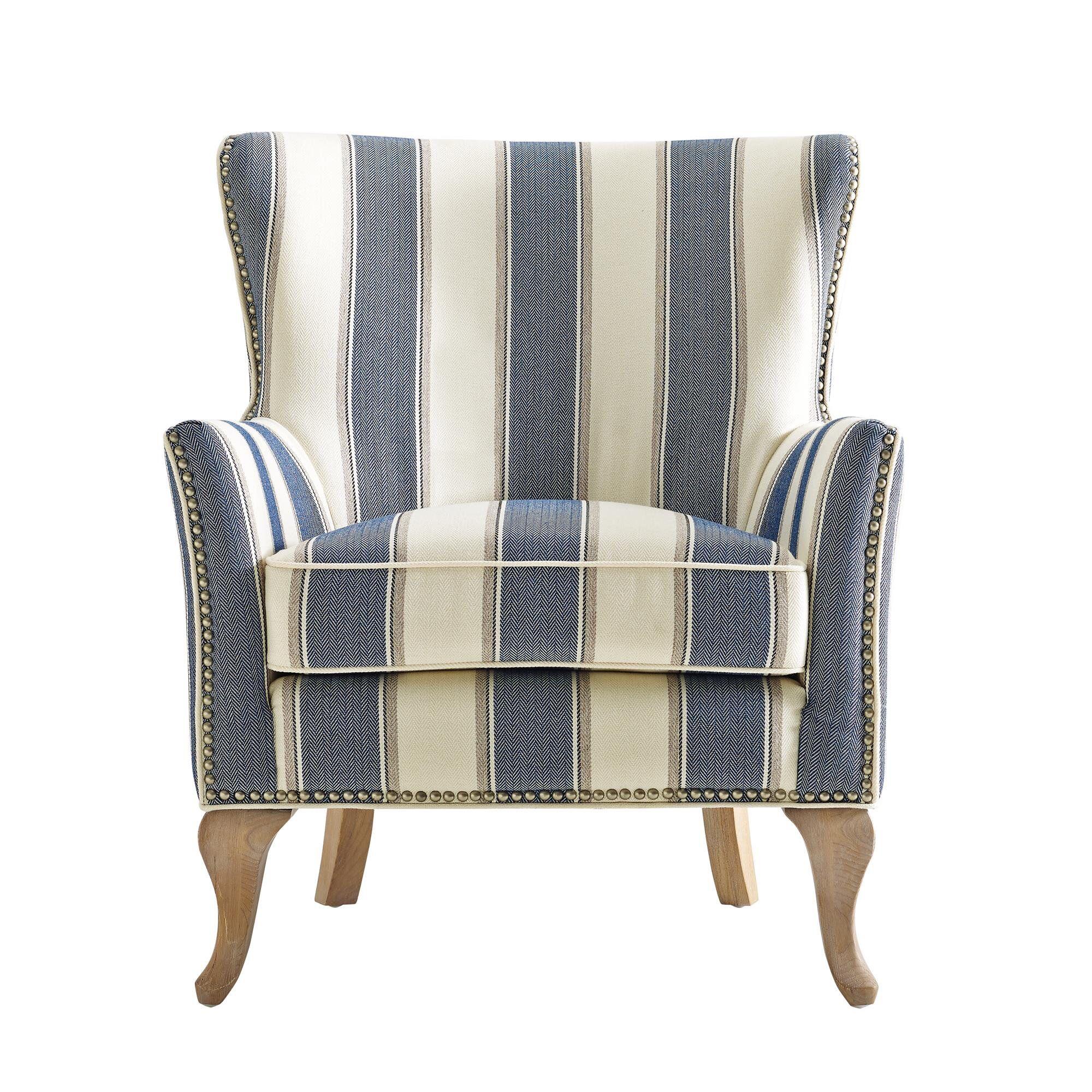 Charles Wingback Chair Navy Deco Stripe: Zubair Wingback Armchair