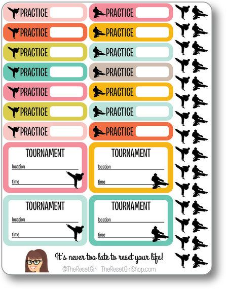 Sporty Mom Planner Icons Karate
