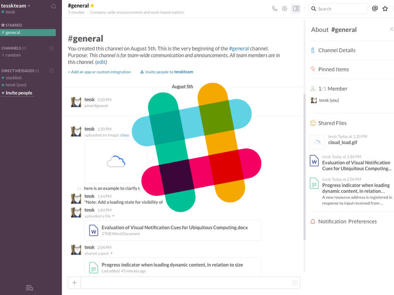 Slack UI Channels and Modal - Free sketch resource for download