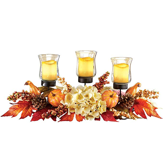 Fall Harvest Centerpiece With Three Candle Holders And Floral Accents Perfect Seasonal Decorati Three Candle Holder Candle Holders Seasonal Decor