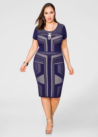 f5bdff4dc16 Geo Pattern Bodycon Dress-Plus Size Sweaters-Ashley Stewart